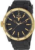 Edc Herren-Armbanduhr XL Rubber Star - Midnight Black, Gold Analog Quarz Silikon EE100831004
