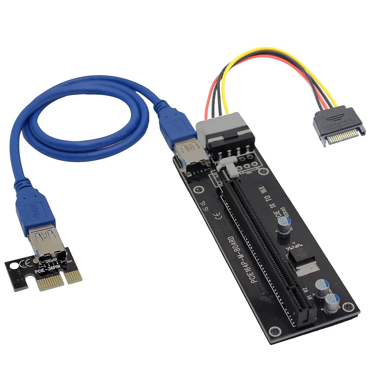 Tarjeta Elevadora PCI-E 1x a 16x, cable extensor USB 3.0 con ...