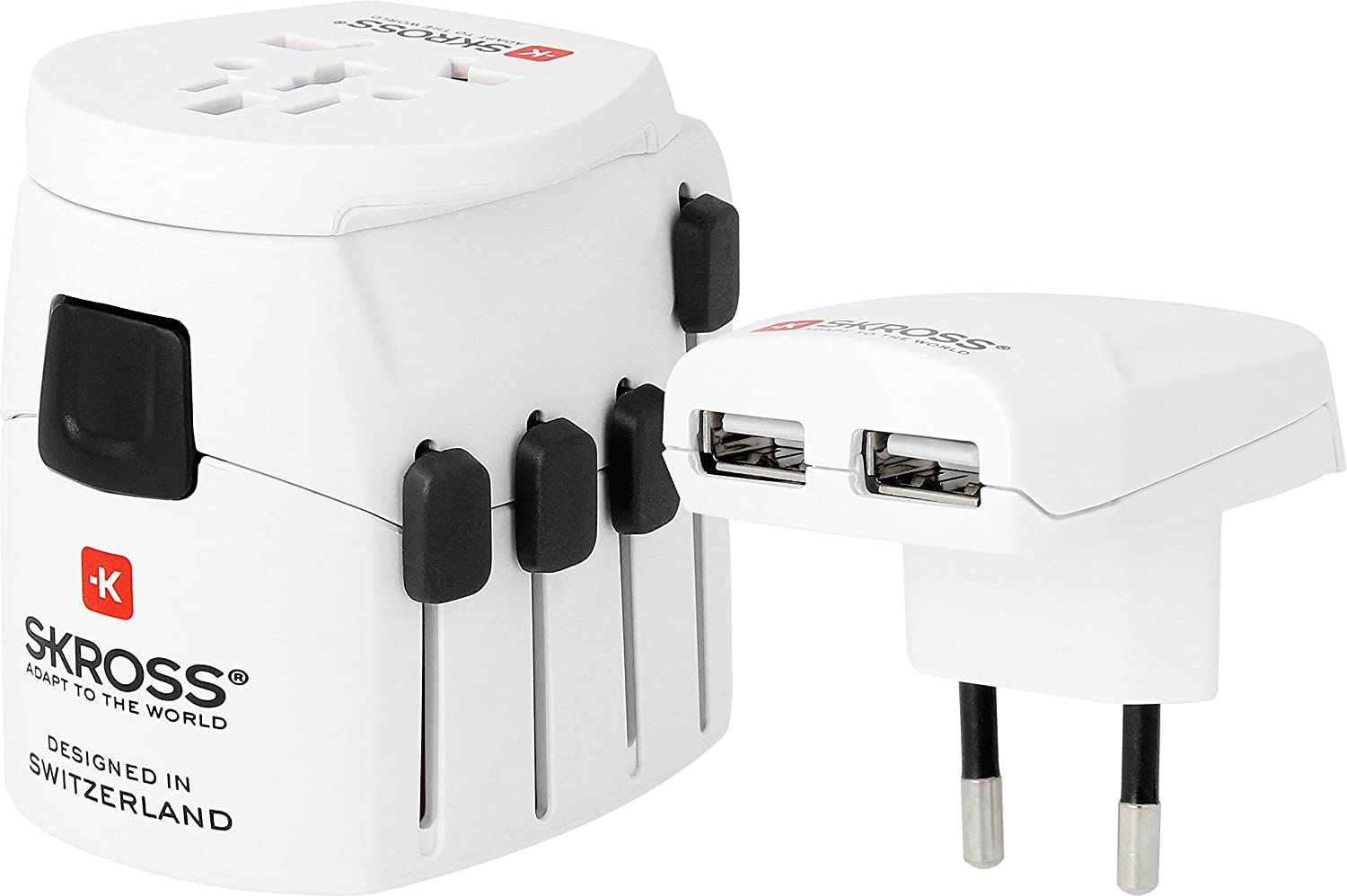 Skross Pro Plus - Adaptador universal de viaje, 2-3 polos, USB, color blanco 1.302500