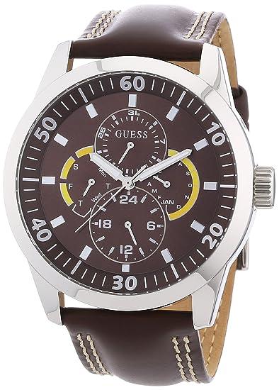 Guess W95046G2 - Reloj analógico de cuarzo para hombre con correa de piel, color marrón: Amazon.es: Relojes