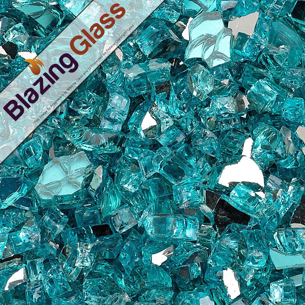 Blazing Fireglass 10-Pound Reflective Fire Glass with Fireplace Glass and Fire Pit Glass, 1/4-Inch, Azuria Blue