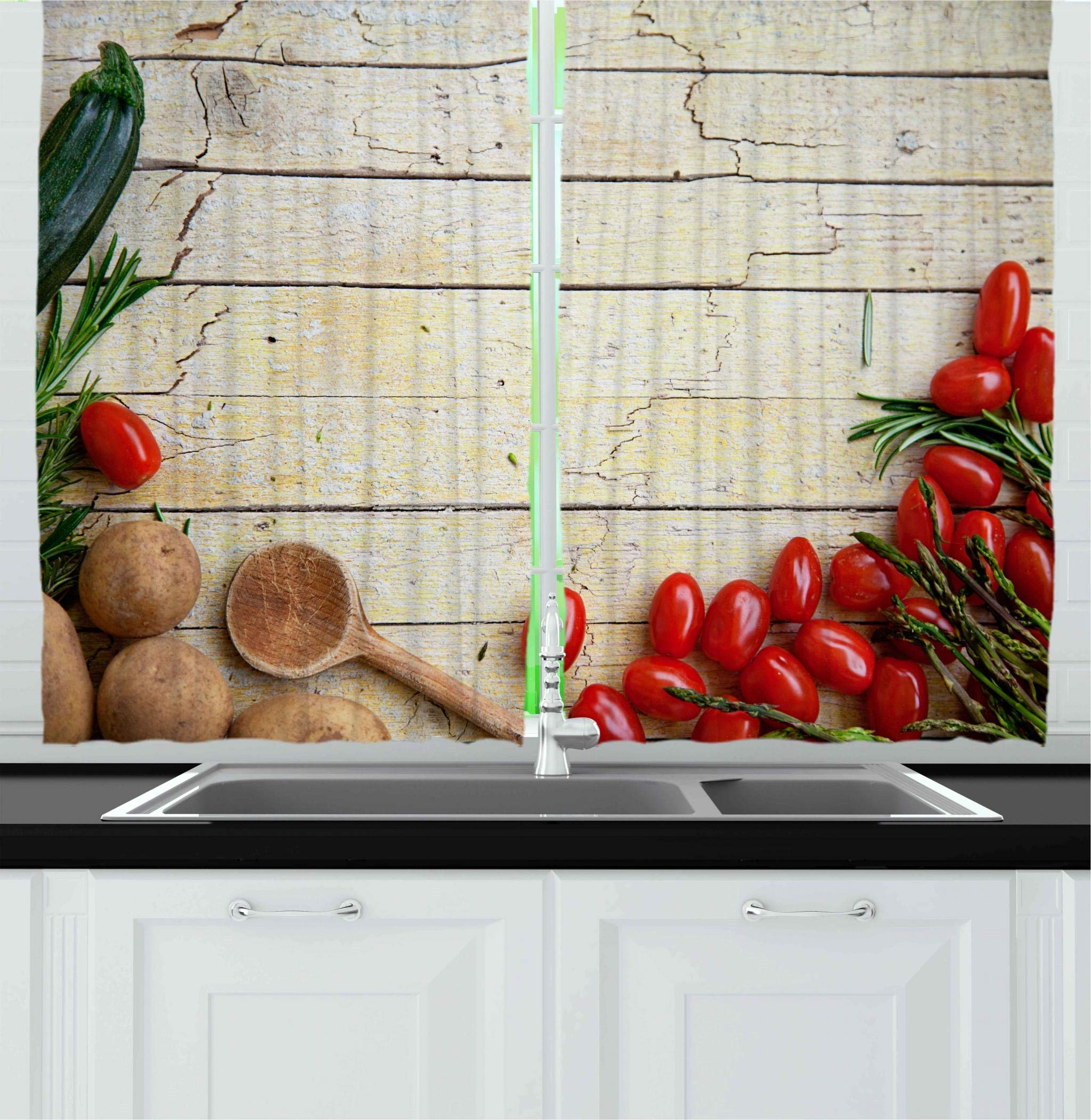 Ambesonne Kitchen Decor Collection, Cooking Vegetables Recipe Kitchenware Chef Rustic Wood Organic Utensil Cafe Art, Window Treatments for Kitchen Curtains 2 Panels, 55X39 Inches, Brown Red Green