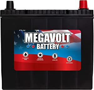 Megavolt Lead Acid Flooded Car Battery BCI 51R, 12V 55AH CCA500 CA525 (51R-60-500)