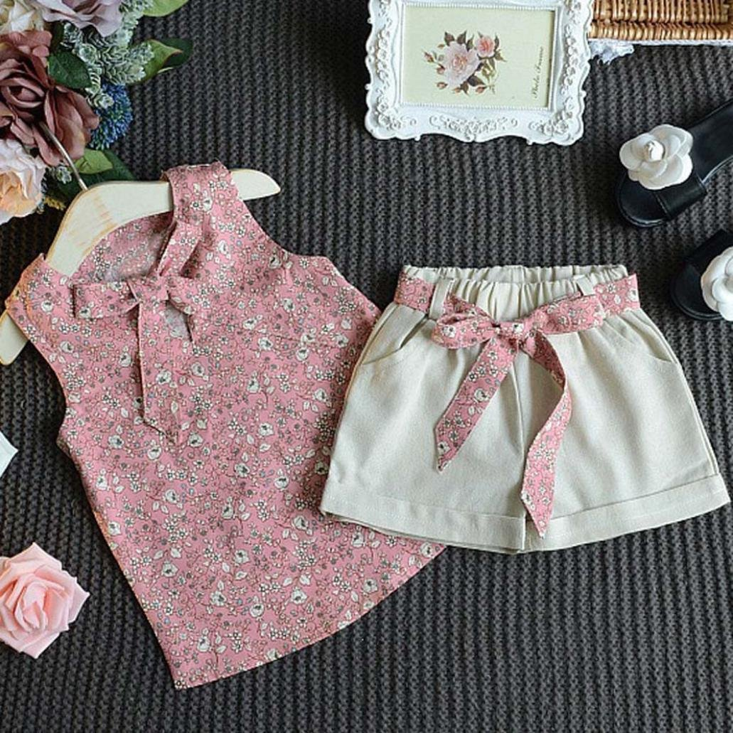 Kehen Kids Toddler Baby Girl 2pcs Summer Outfits Clothes Sleeveless Flower Print T-Shirt Top Solid Shorts Set
