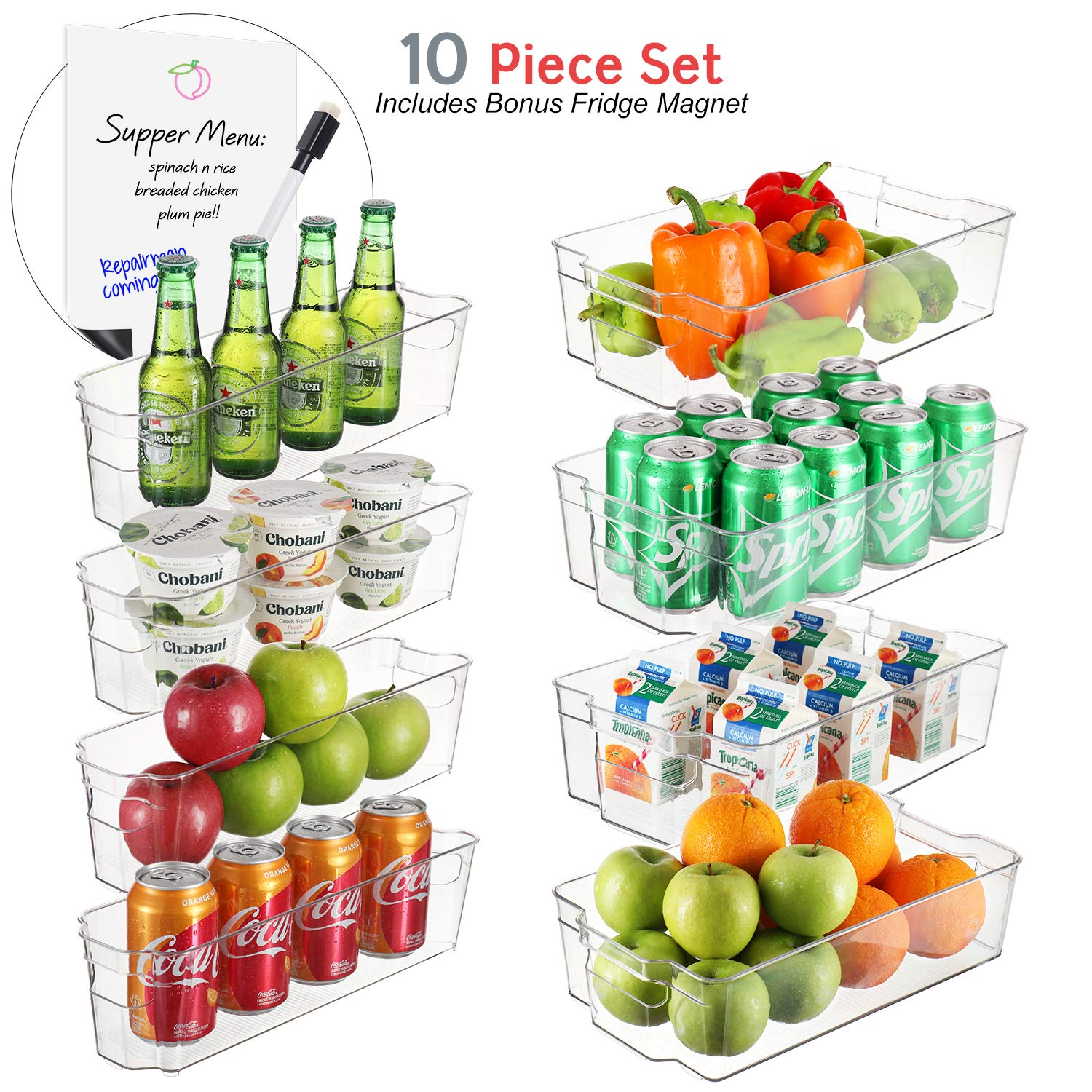 StorageMaid Set Of 8 Refrigerator Organizer Bins - 4 Large and 4 Small Stackable Fridge Organizers for Freezer, Kitchen, Countertops, Cabinets - Clear Plastic Pantry Storage Rack