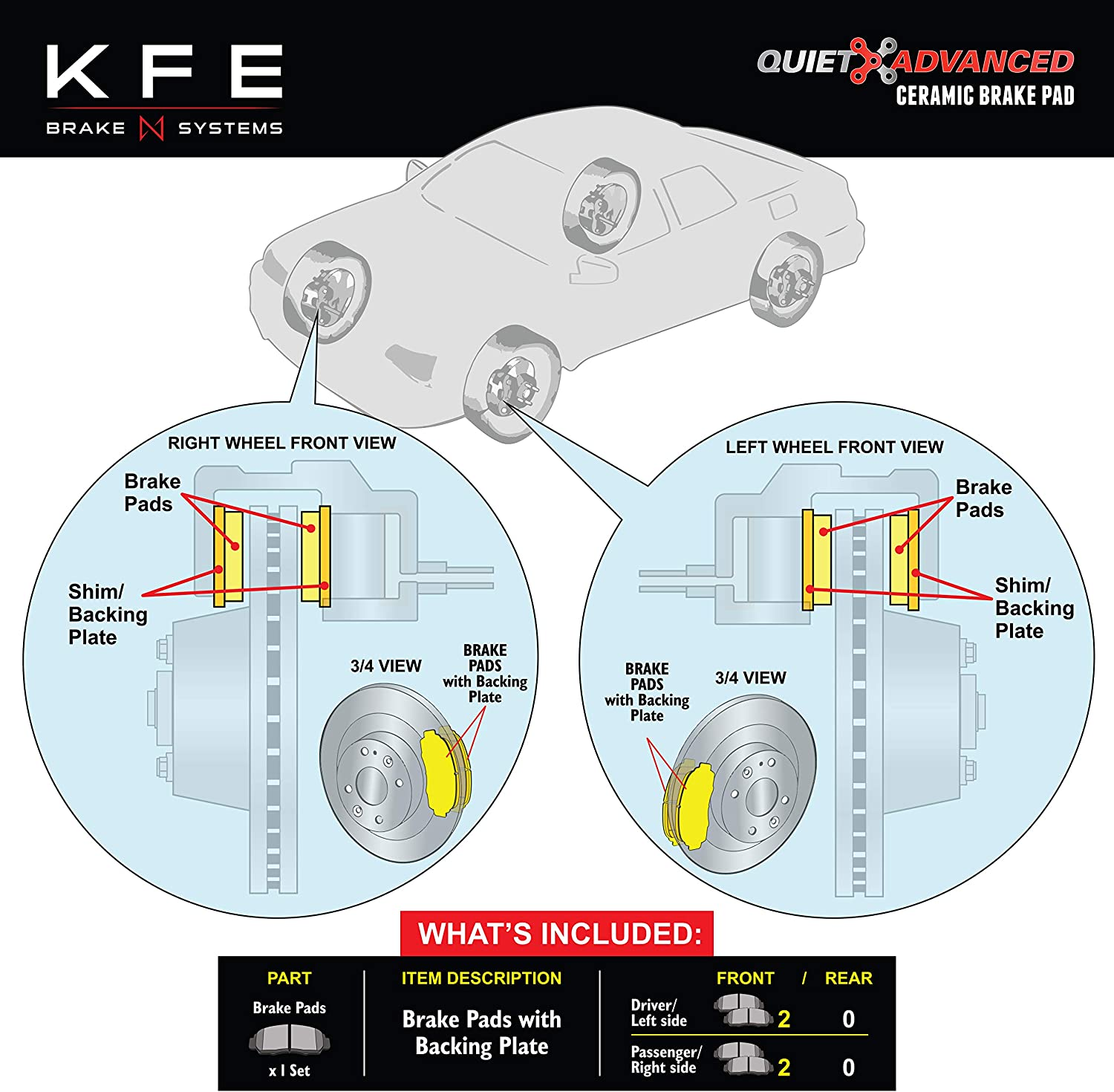 Sentra; Infiniti G20 Maxima I30; Suzuki SX4 KFE KFE653-104 Ultra Quiet Advanced Premium Ceramic Brake Pad FRONT Set Compatible With: Nissan Altima