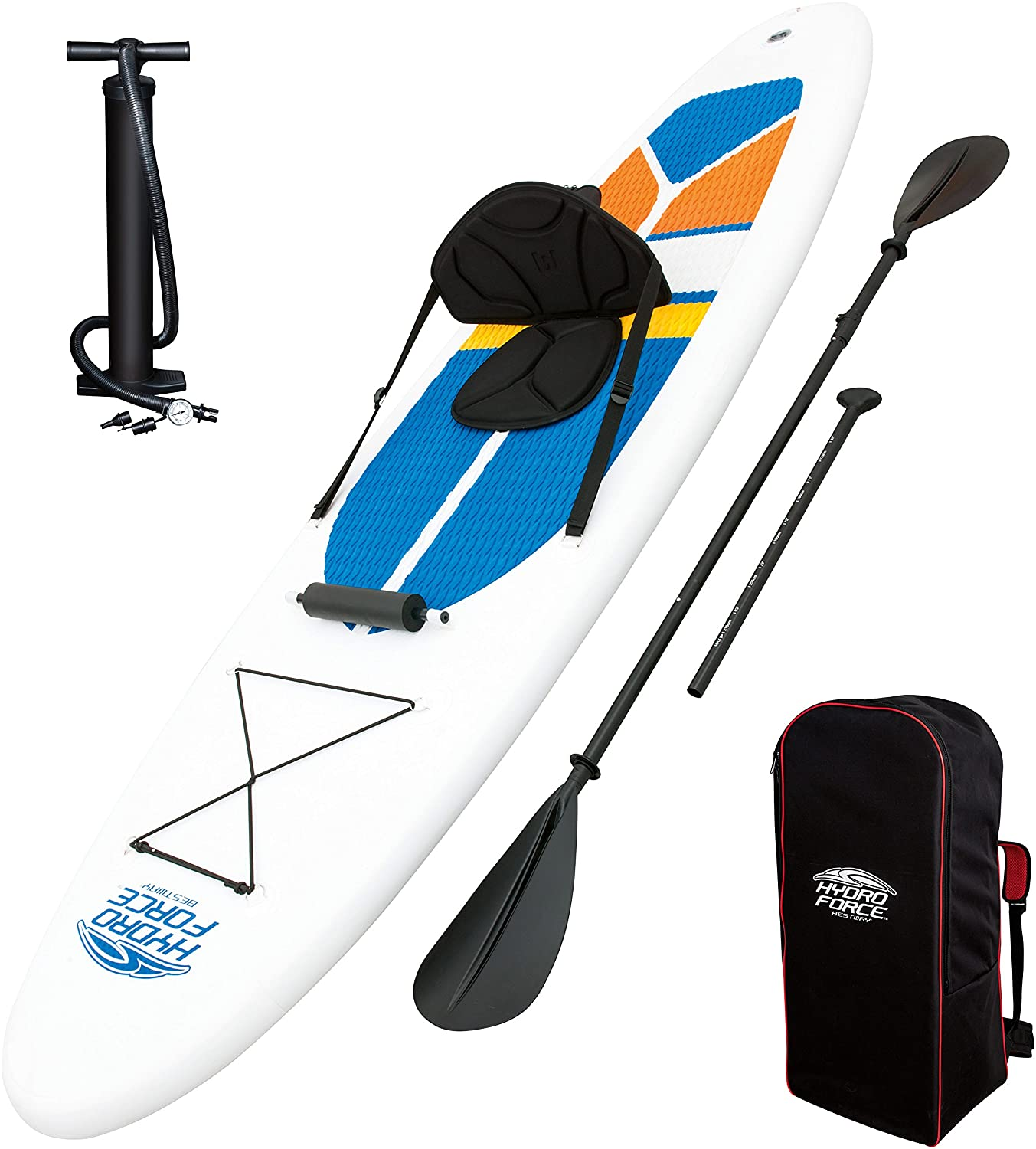 Amazon.com : HydroForce White Cap Inflatable Stand Up Paddleboard SUP and  Kayak 10' : Sports & Outdoors