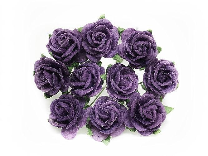 Amazon 12 Plum Purple Mulberry Paper Flowers Plum Paper Rose