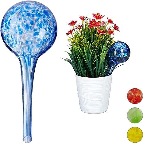 Bewässerungskugel Glas Durstkugel Gießhilfe Wasserspender Pflanzen weiß blau