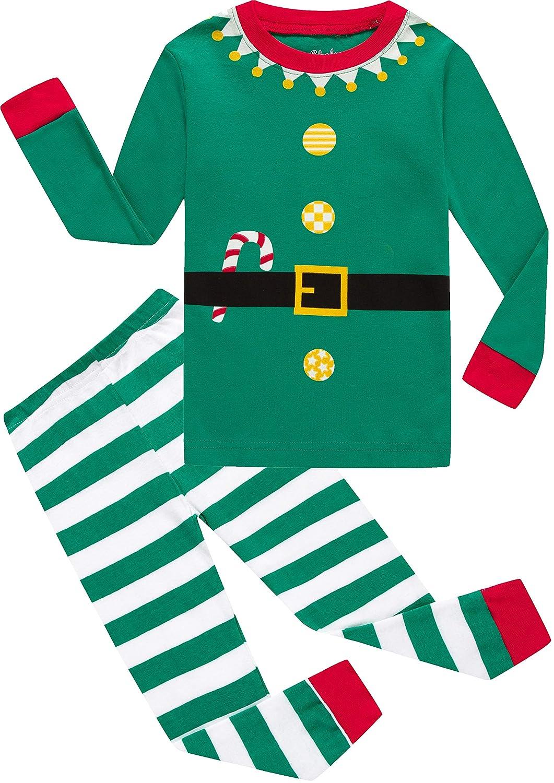 shelry Girls Christmas Pajamas Children Boys Pjs Sleepwear Kids Clothes Stripe Pants Set