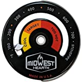 Midwest Hearth Wood Stove Thermometer, Steel, Black, Chimney Pipe Meter