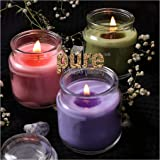 Pure Source India 3 Oz Glass Jar Candles, Pack of 3 (Scented - Rose, Jasmine & Lavender) Burn Time 18 to 20 Hrs