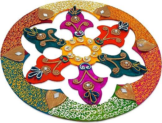 Diwali /& Christmas Decor 11 Piece Living Room Floor Deocration Wooden Rangoli