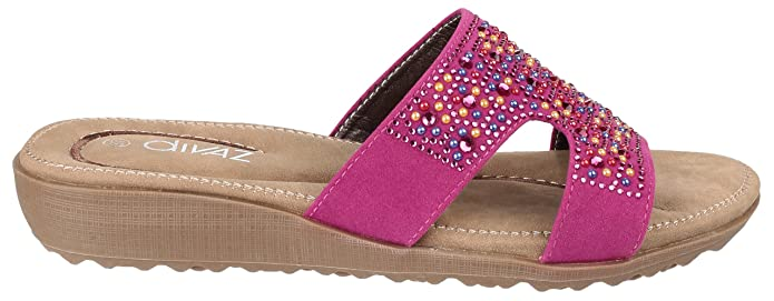 Divaz Ladies Wedge Heeled Summer Mules Style Kiti Col Various Sz 36-41 New