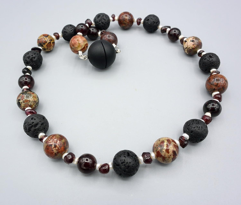 Granat Kette - Jaspis, Lava, Zuchtperlen - Magnet Schließe - Beads-in-Fashion