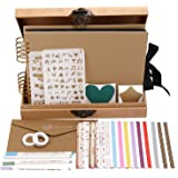 INNOCHEER Scrapbook with Photo Album Storage Box, 80 Pages Craft Paper DIY Anniversary,, Wedding Photo Album with DIY Accessories Kit