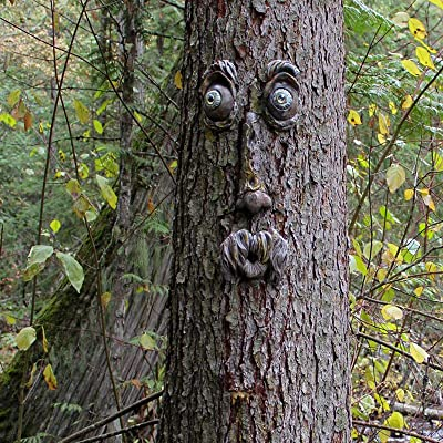 Old Man Whimsical Tree Faces Statues Hugger Sculpture Bird Feeder Garden Decor