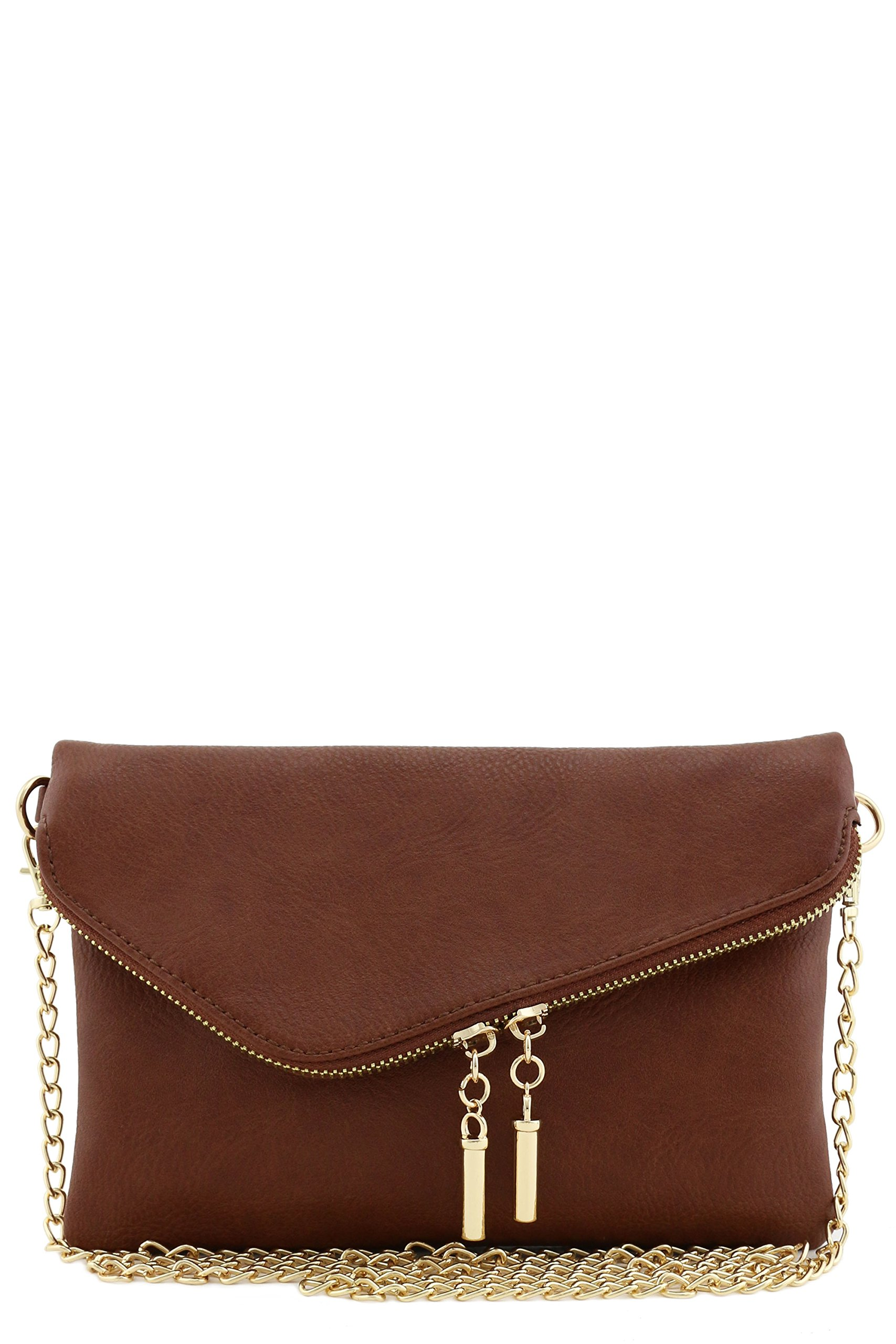 Envelope Wristlet Clutch Crossbody Bag with Chain Strap (Coffee)