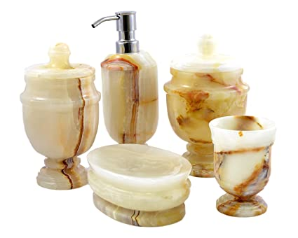Nature Home Decor 520WO5 White Onyx 5 Piece Bathroom Accessory Set Of  Siberian Collection