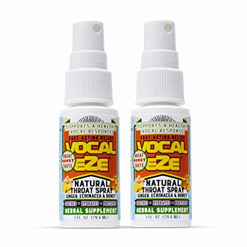 Herbal Throat Spray Professional Strength Vocal Eze with Honey, Aloe, Echinacea, Ginger vocaleze