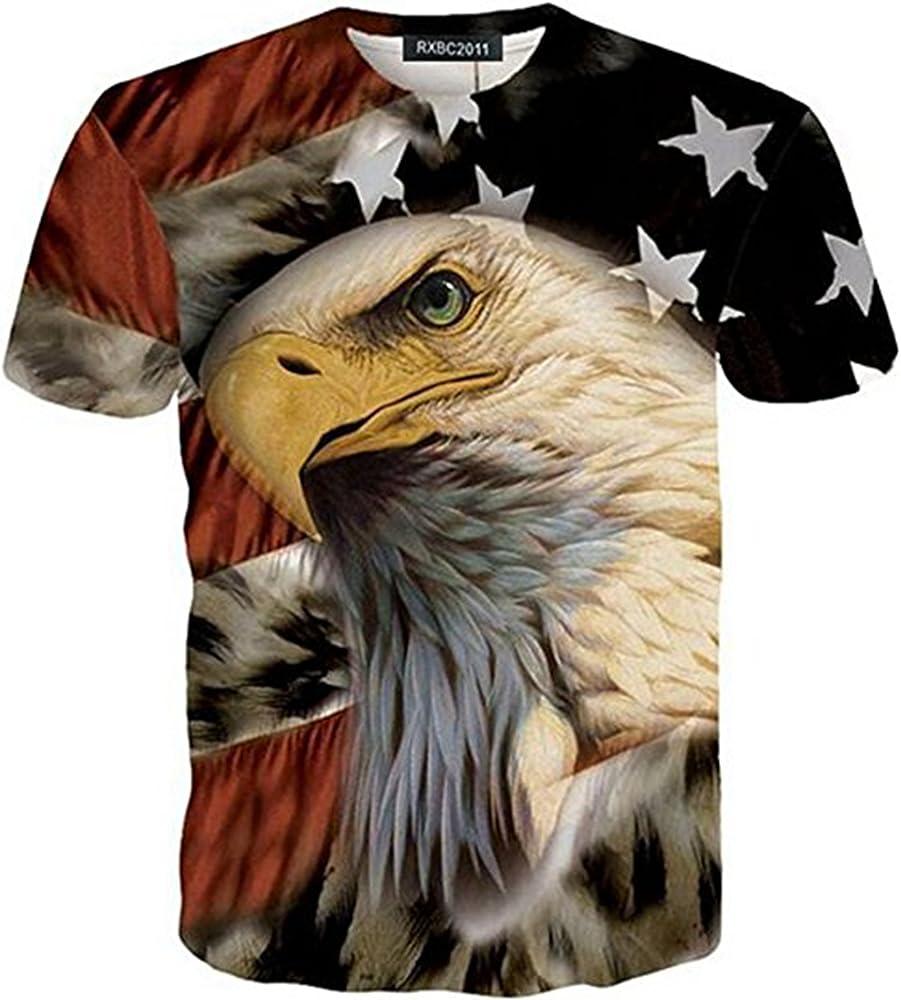2693926c0 Amazon.com: RXBC2011 Men's American Flag Eagle 3D Printed T-Shirt ...