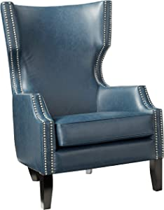 """Madison Park Brighton Accent Chairs - Hardwood, Leatherette, Living Room Armchair Modern Contemporary Style Sofa Furniture Wing Back, Receding Arm,-Bedroom Lounge, 31.4"""" Wide, Navy"""