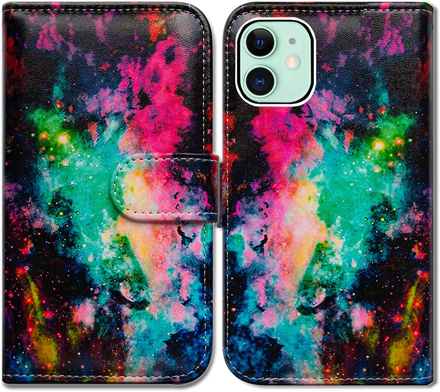 iPhone 12 Case,iPhone 12 Pro Case,Bcov Colorful Universe Sky Leather Flip Phone Case Wallet Cover with Card Slot Holder Kickstand for iPhone 12/iPhone 12 Pro