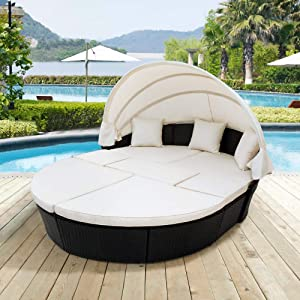 Lucakuins Patio Furniture Outdoor Daybed with Retractable Canopy Wicker Furniture Sectional Seating with Washable Cushions for Patio Backyard Porch Pool Round Daybed Separated Seating (Beige)