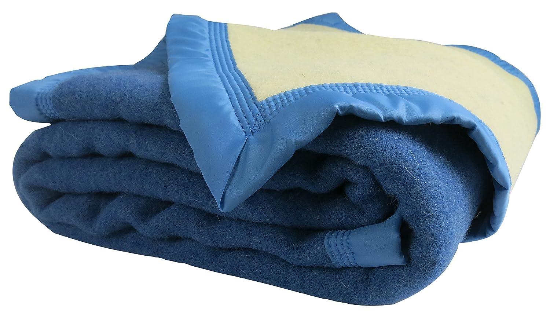 Couverture hiver Luxe - 100% pure laine vierge - OURSON - Bleu B0/Ecru A1 - 180 x 220 11010013-180-B0A1