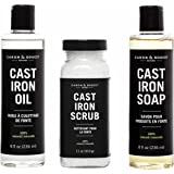 Caron & Doucet - Ultimate Cast Iron Care Set: Seasoning Oil, Cleaning Soap & Restoring Scrub | 100% Plant-Based & Best for Cleaning, Washing, Restoring & Seasoning Cast Iron Skillets, Pans, Grills and More!