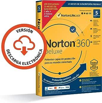 Norton 360 Deluxe 2021 - Antivirus software para 5 Dispositivos y 15 meses de suscripción con renovación automática, Secure VPN y Gestor de contraseñas, para PC, Mac tableta y smartphone