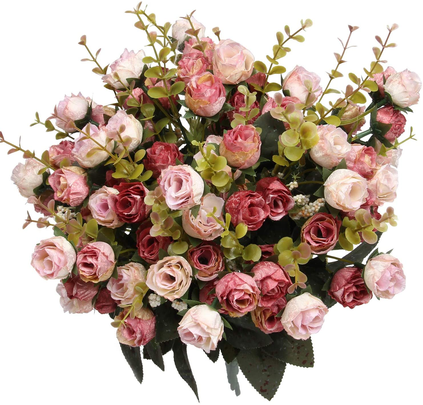 Flojery 21 Heads Silk Rose Bouquet Artificial Flowers Mini Rose for DIY Wedding Bouquets Centerpieces Bridal Shower Party Home Decorations,Pack of 4 (Pink)