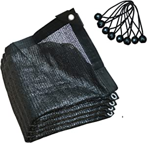 70% Shade Cloth for Plants Taped Edge with Grommets 6.5ftX6.5ft, Black Net Shading with 8 Bungee Balls for Plants Heat Protection Garden Plants Patio Lawn Flowers Outdoor Sunshade-2X2 Black