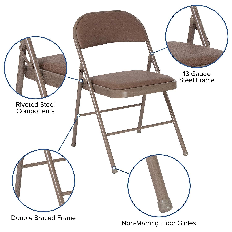 Flash Furniture HA-F003D-BGE-GG Hercules Series Double Braced Beige Vinyl Folding Chair