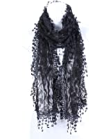 AN Fashion Leafy Lace Scarf Womens With Tassels