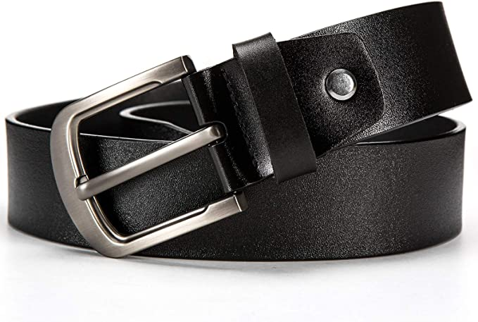 Gürtel echt LEDER Herren Damen Jeansgürtel Rindleder 3,8cm Schwarz NEU