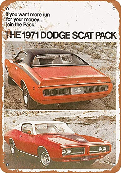 OURTrade 12 x 16 Metal Sign - 1971 Dodge Scat Pack 2 - Vintage Look: Amazon.es: Hogar