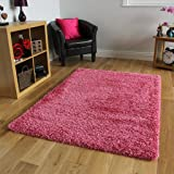 "BRIGHT PINK SUPER SOFT LUXURY SHAGGY RUG 5 SIZES AVAILABLE 160cmx220cm (5ft3"" x 7ft3"")"