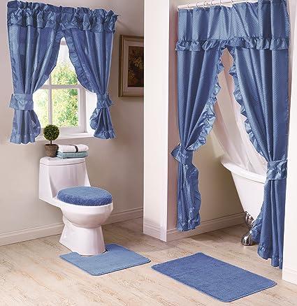 Madison Starlite Deluxe Swag Shower Blue Bathroom Window Curtain