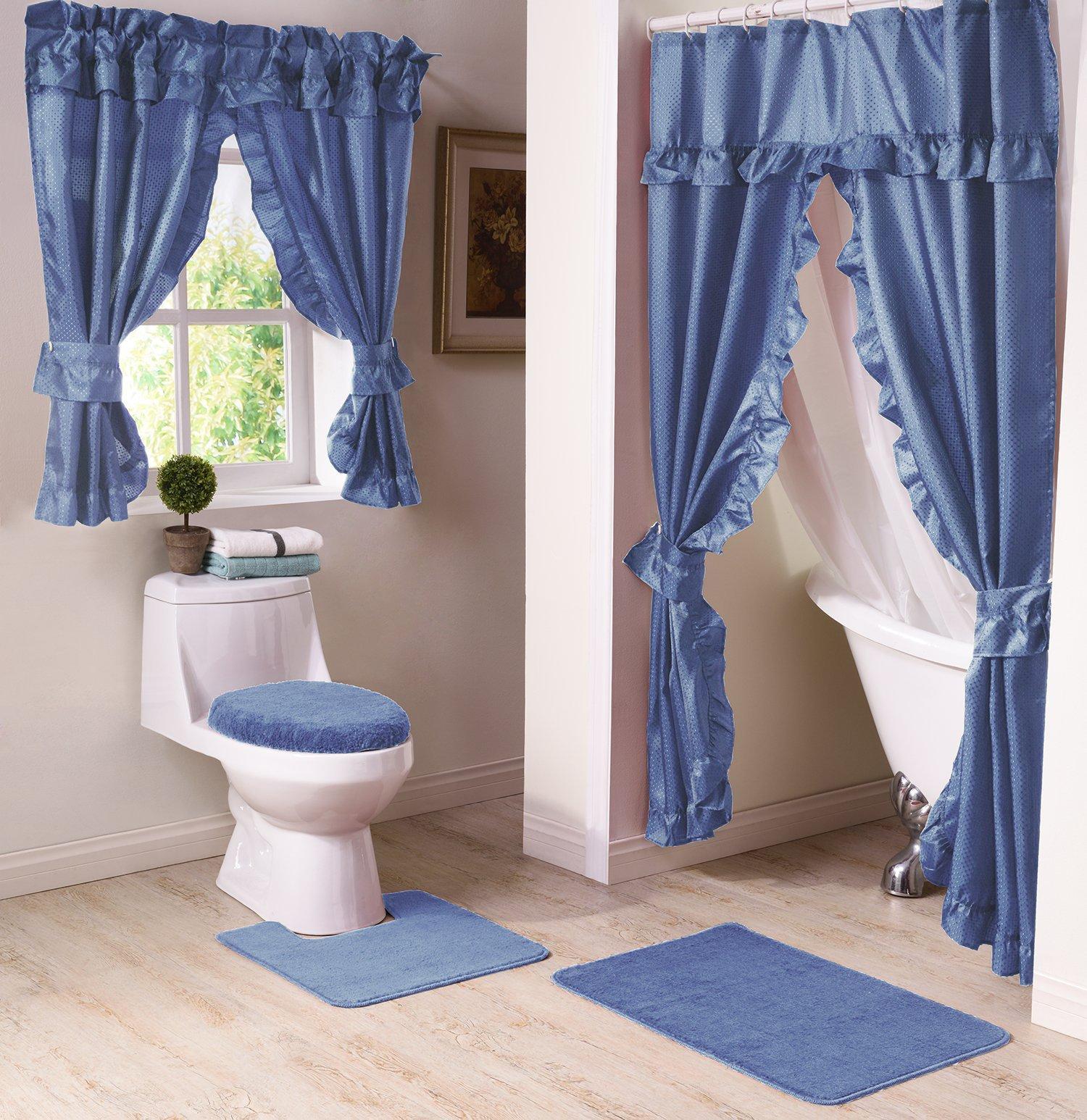 Madison Starlite Deluxe Swag Shower Blue Bathroom Window Curtain,