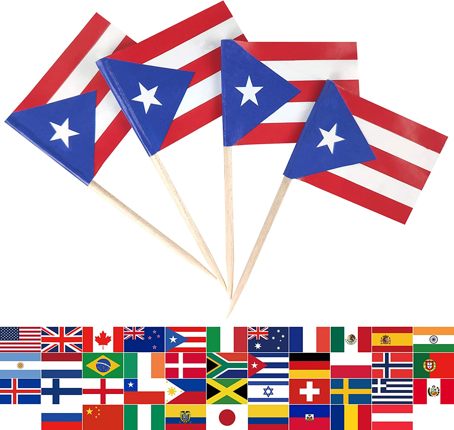 JBCD 100 Pcs Puerto Rico Flag Toothpicks Puerto Rican Flags Cupcake Toppers Decorations, Cocktail Toothpick Flag Cake Topper Picks Mini Small Flag Cupcake Pick Sticks
