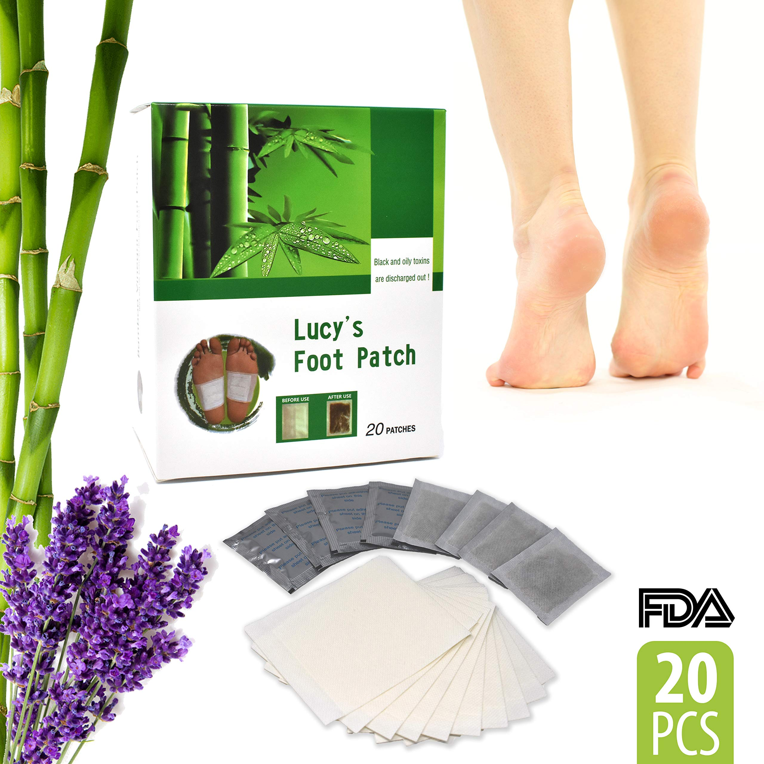 Premium Tiny Helper Foot Pads All Natural and Organic - 20 Premium Bamboo Essential Oil Pads - Remove Impurities - Rapid Pain Relief & Foot Health - Fresh Scent Sleep Better - Give Your Body Relief