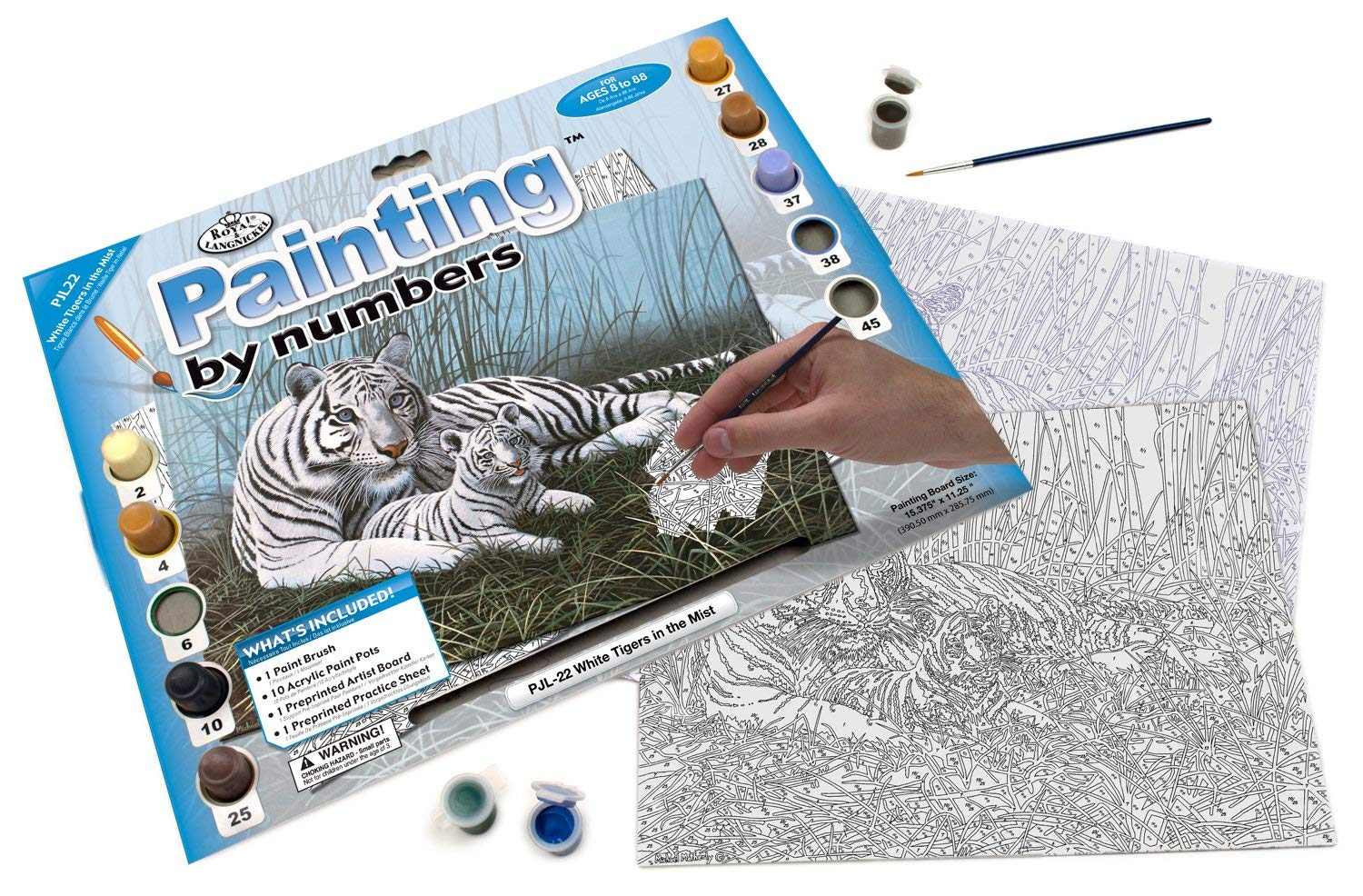 White Tigers in The Mist Royal /& Langnickel Painting by Numbers Junior Large Art Activity Kit