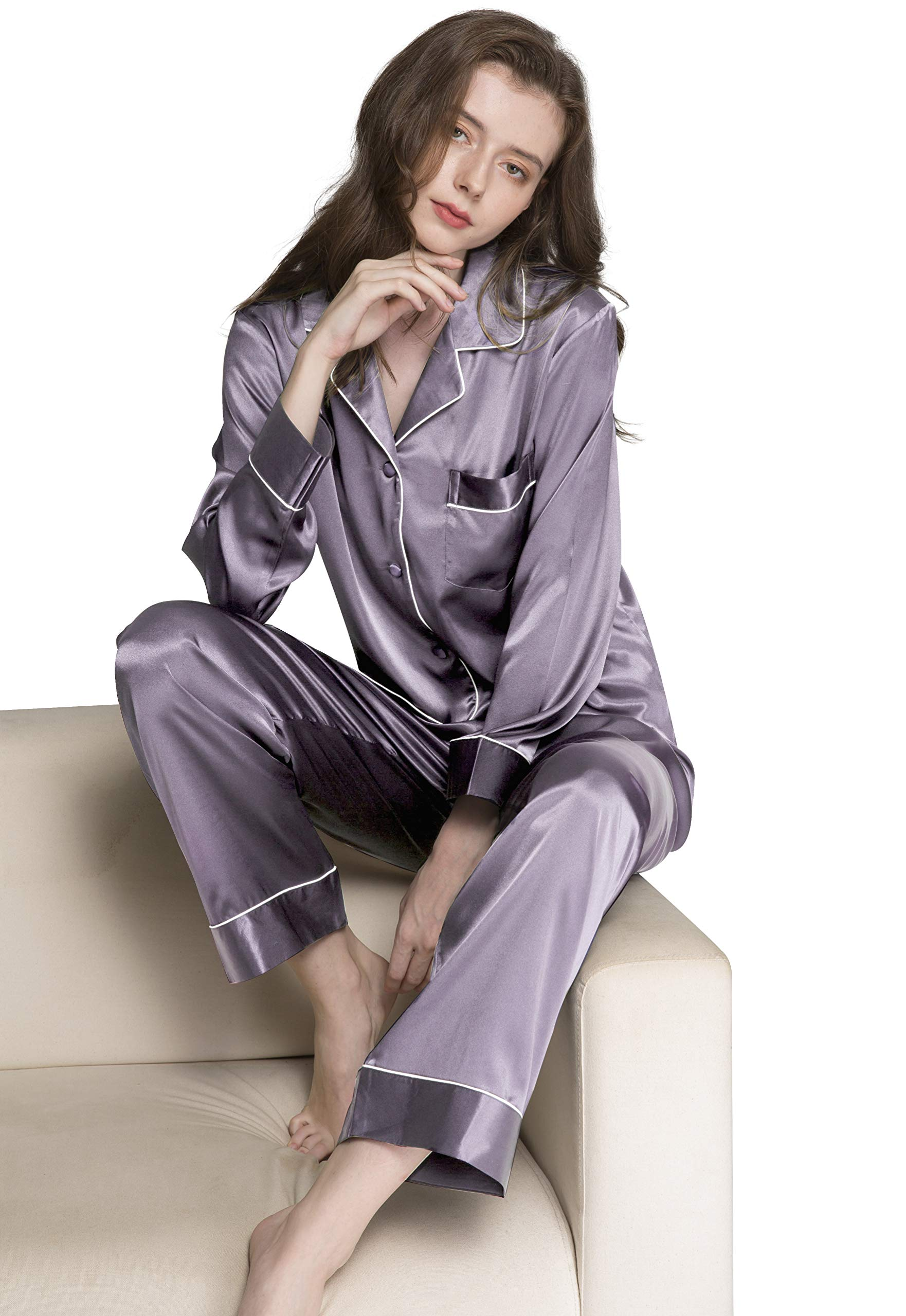 Lonxu Womens Silk Satin Pajamas Set Gray M by Lonxu