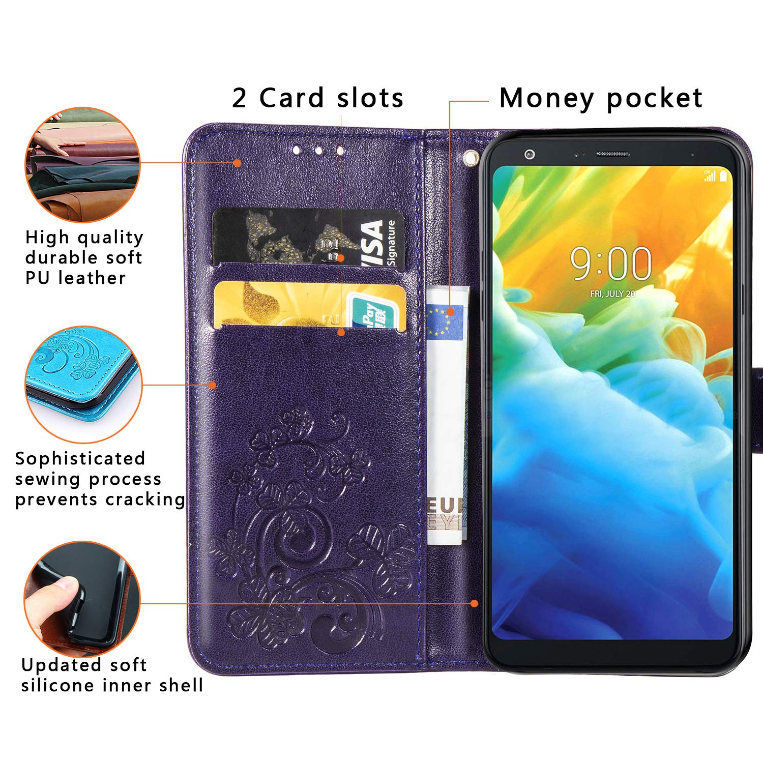 Halnziye Case for LG Stylo 5, Magnetic Closure Soft TPU Flip Leather Wallet Phone Case with Kickstand Card Slots Designed for LG Stylo 5 Cover (Purple)