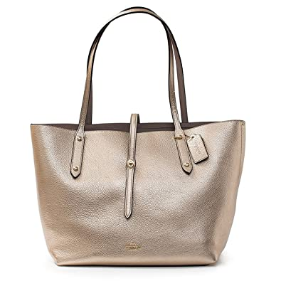 0950500bbb3 Image Unavailable. Image not available for. Color  Coach Platinum Grey  Birch Gold Market Tote Leather ...