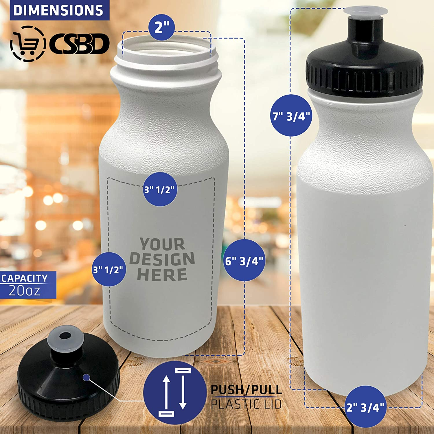 BPA Free Multiple Colors /& Sizes Available Bulk CSBD Sport Water Bottle 4 Pack PET and HDPE Plastic Made in USA