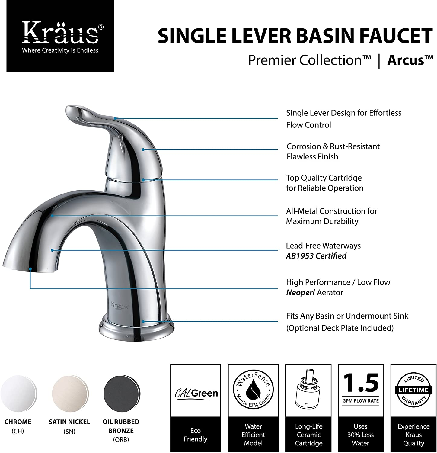 Kraus Fus 1011orb Arcus Single Lever Basin Bathroom Faucet Oil Rubbed Bronze Touch On Bathroom Sink Faucets Amazon Com