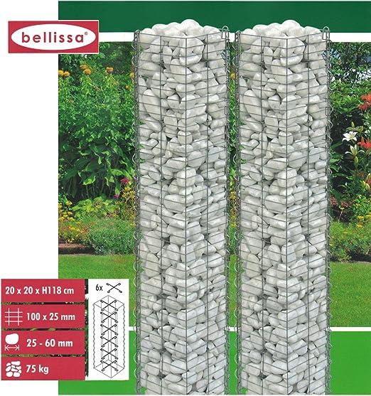 bellissa Juego de 2 steinsäulen 118cm gabionen Valla Ocultación Decoración de jardín ayuda Posicionamiento: Amazon.es: Jardín