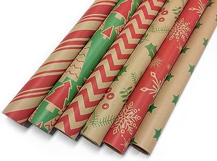 Kraft Holiday Wrap Gold Stars /& Swirls Kraft Gift Wrap Gift Wrap Christmas Wrapping Paper Heavy Duty Paper Kraft Wrapping Paper